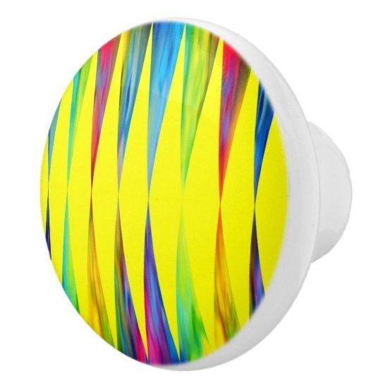 [Rainbow Fiesta] Harlequin Geometric Bright Yellow Ceramic Knob