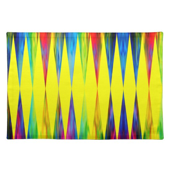 [Rainbow Fiesta] Harlequin Geometric Bright Yellow Cloth Placemat