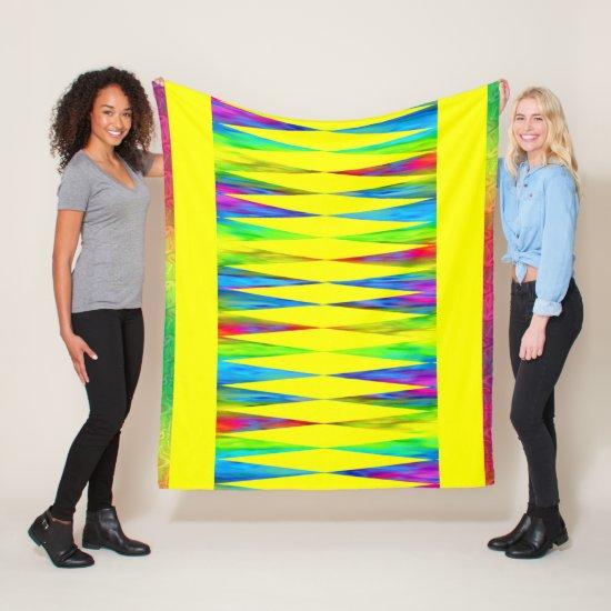 [Rainbow Fiesta] Harlequin Geometric Bright Yellow Fleece Blanket