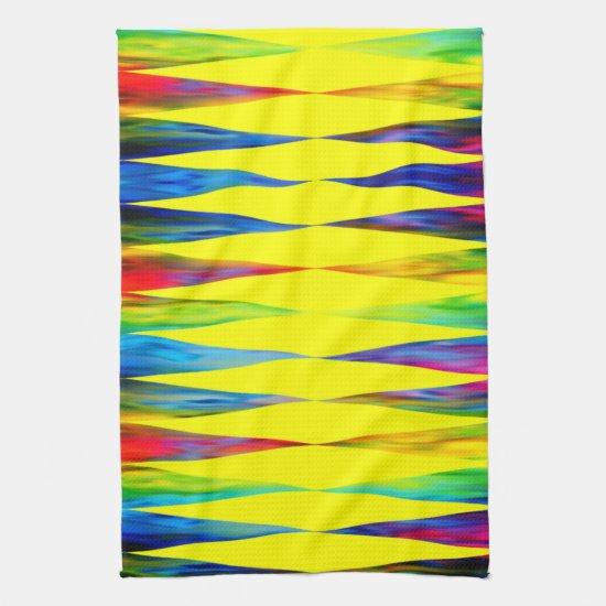 [Rainbow Fiesta] Harlequin Geometric Bright Yellow Kitchen Towel