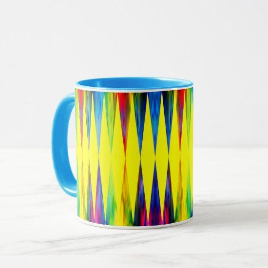 [Rainbow Fiesta] Harlequin Geometric Bright Yellow Mug