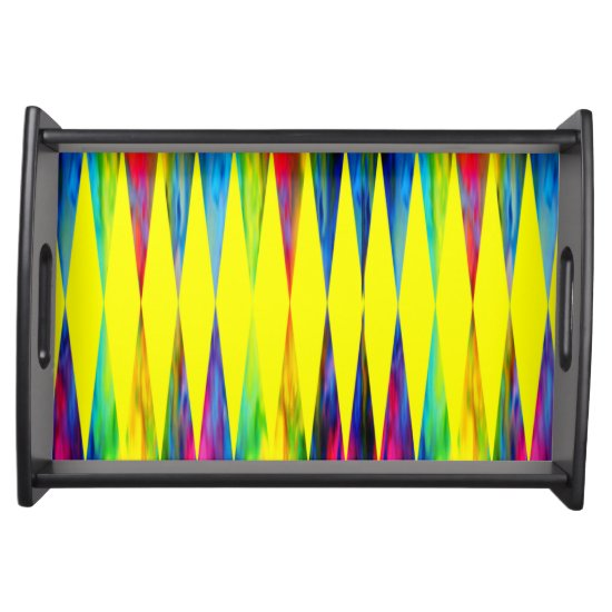 [Rainbow Fiesta] Harlequin Geometric Bright Yellow Serving Tray