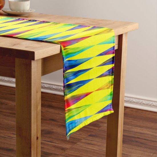 [Rainbow Fiesta] Harlequin Geometric Bright Yellow Short Table Runner