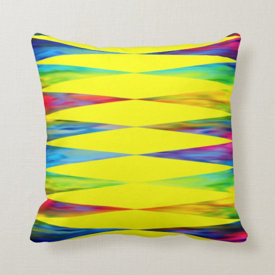 [Rainbow Fiesta] Harlequin Geometric Bright Yellow Throw Pillow