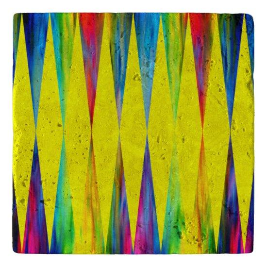 [Rainbow Fiesta] Harlequin Geometric Bright Yellow Trivet