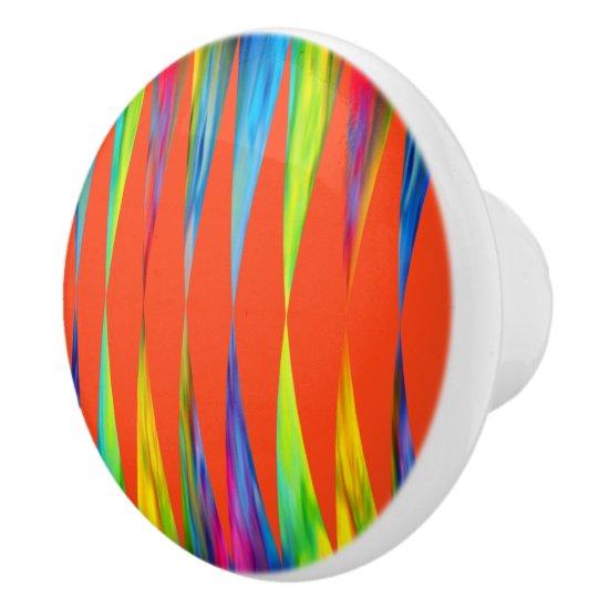 [Rainbow Fiesta] Harlequin Geometric Fiery Orange Ceramic Knob