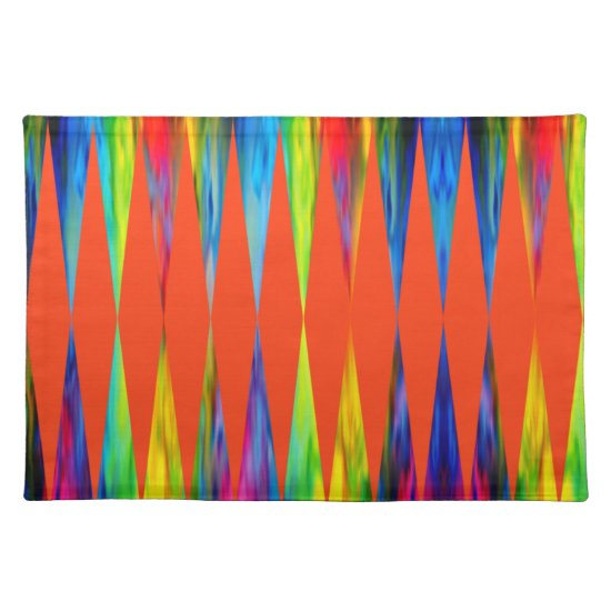 [Rainbow Fiesta] Harlequin Geometric Fiery Orange Cloth Placemat