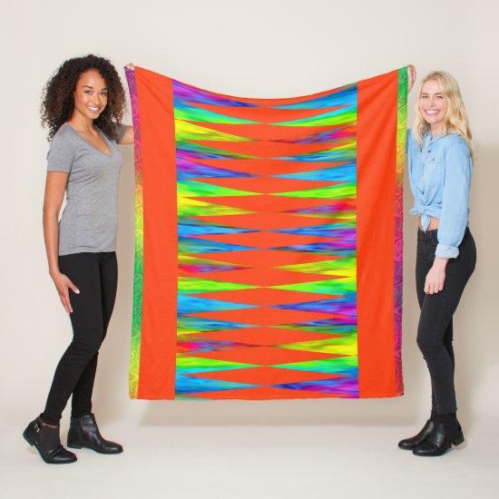 [Rainbow Fiesta] Harlequin Geometric Fiery Orange Fleece Blanket