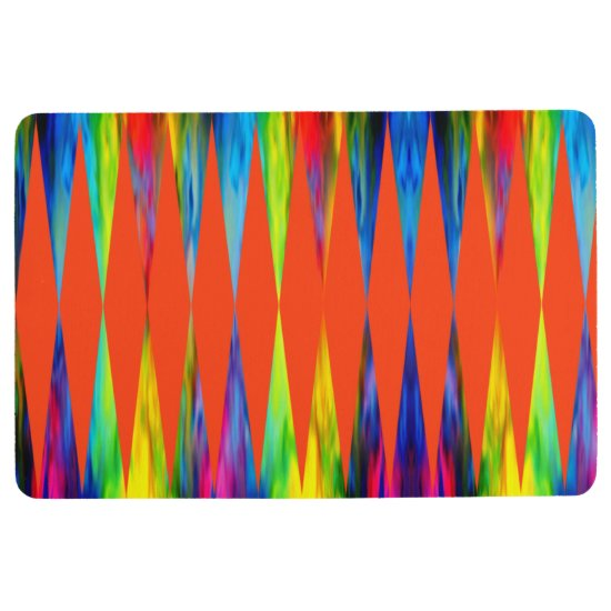 [Rainbow Fiesta] Harlequin Geometric Fiery Orange Floor Mat