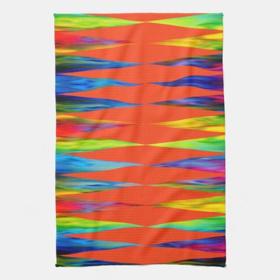 [Rainbow Fiesta] Harlequin Geometric Fiery Orange Hand Towel