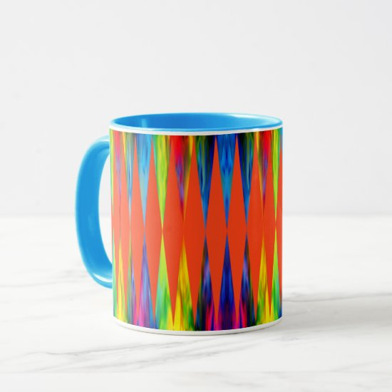 [Rainbow Fiesta] Harlequin Geometric Fiery Orange Mug