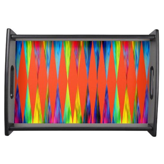[Rainbow Fiesta] Harlequin Geometric Fiery Orange Serving Tray