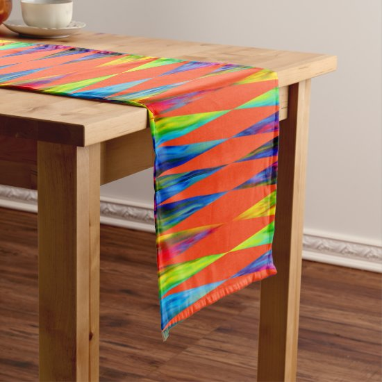 [Rainbow Fiesta] Harlequin Geometric Fiery Orange Short Table Runner
