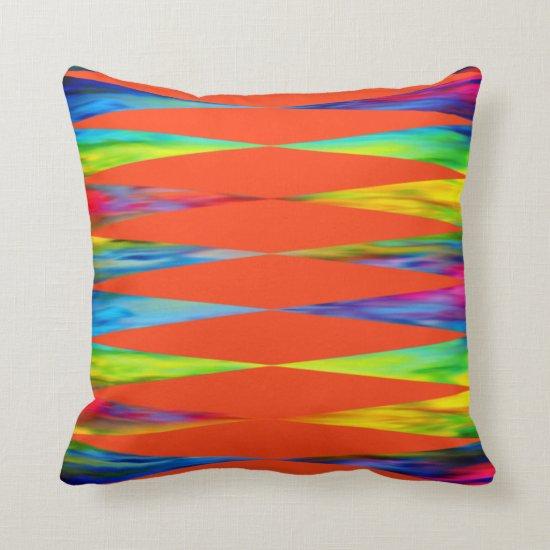 [Rainbow Fiesta] Harlequin Geometric Fiery Orange Throw Pillow