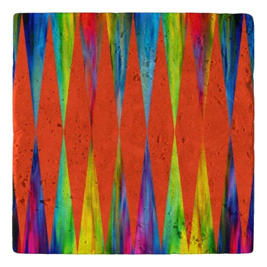 [Rainbow Fiesta] Harlequin Geometric Fiery Orange Trivet