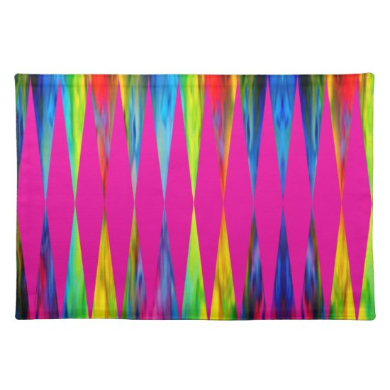 [Rainbow Fiesta] Harlequin Geometric Hot Pink Cloth Placemat