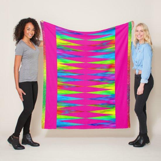 [Rainbow Fiesta] Harlequin Geometric Hot Pink Fleece Blanket