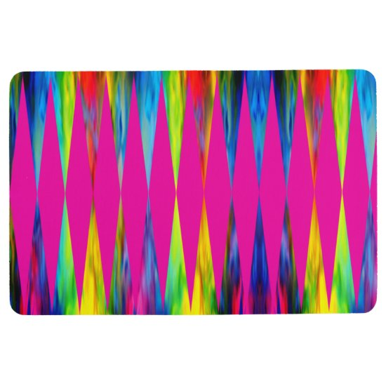 [Rainbow Fiesta] Harlequin Geometric Hot Pink Floor Mat