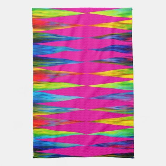 [Rainbow Fiesta] Harlequin Geometric Hot Pink Hand Towel