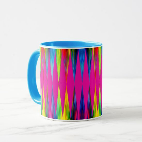 [Rainbow Fiesta] Harlequin Geometric Hot Pink Mug