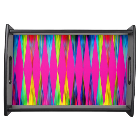 [Rainbow Fiesta] Harlequin Geometric Hot Pink Serving Tray