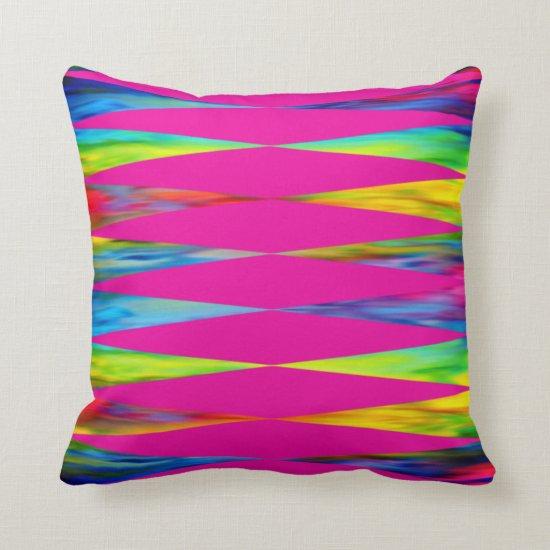 [Rainbow Fiesta] Harlequin Geometric Hot Pink Throw Pillow