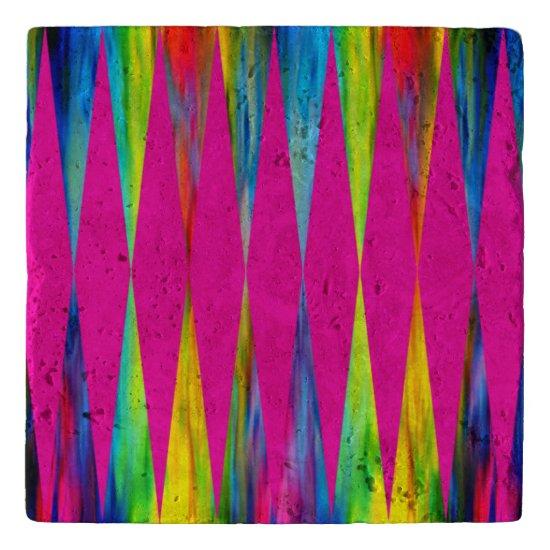 [Rainbow Fiesta] Harlequin Geometric Hot Pink Trivet