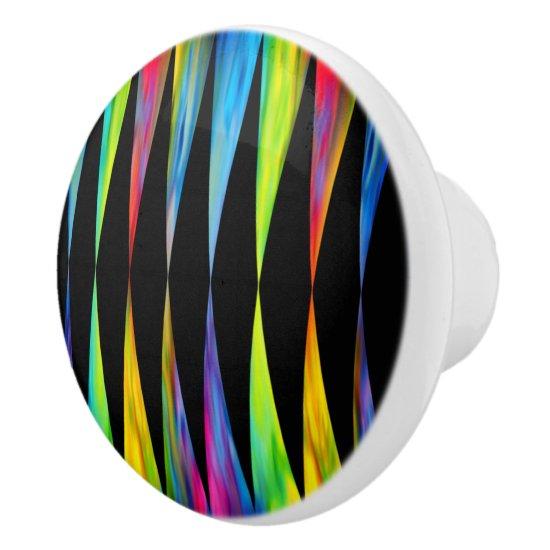 [Rainbow Fiesta] Harlequin Geometric Modern Black Ceramic Knob