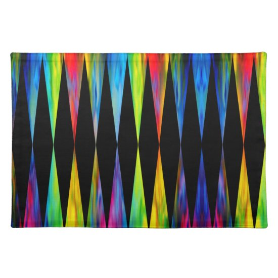 [Rainbow Fiesta] Harlequin Geometric Modern Black Cloth Placemat
