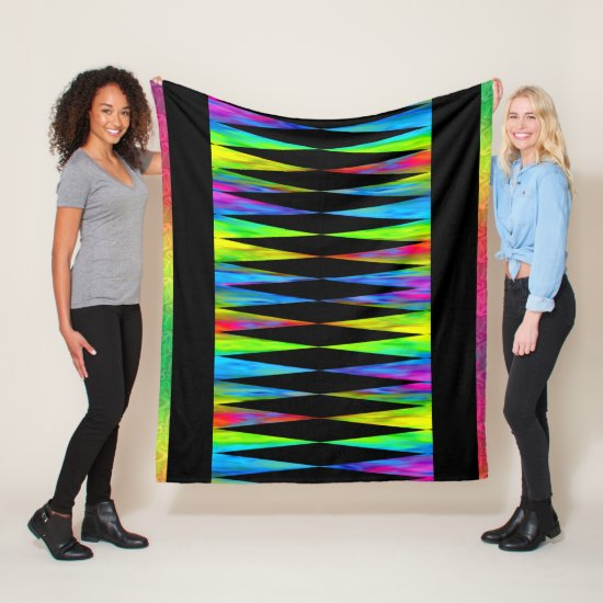 [Rainbow Fiesta] Harlequin Geometric Modern Black Fleece Blanket