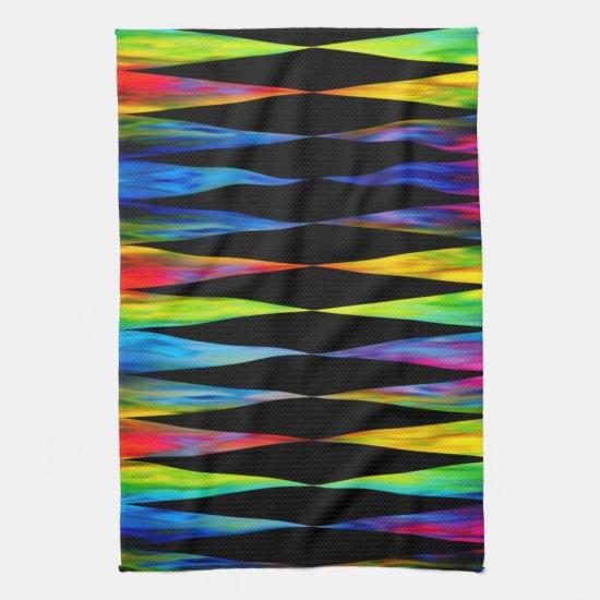 [Rainbow Fiesta] Harlequin Geometric Modern Black Hand Towel