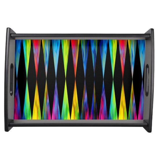 [Rainbow Fiesta] Harlequin Geometric Modern Black Serving Tray