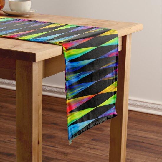[Rainbow Fiesta] Harlequin Geometric Modern Black Short Table Runner