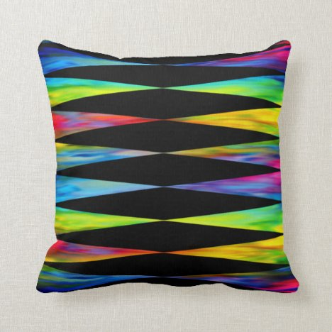 [Rainbow Fiesta] Harlequin Geometric Modern Black Throw Pillow