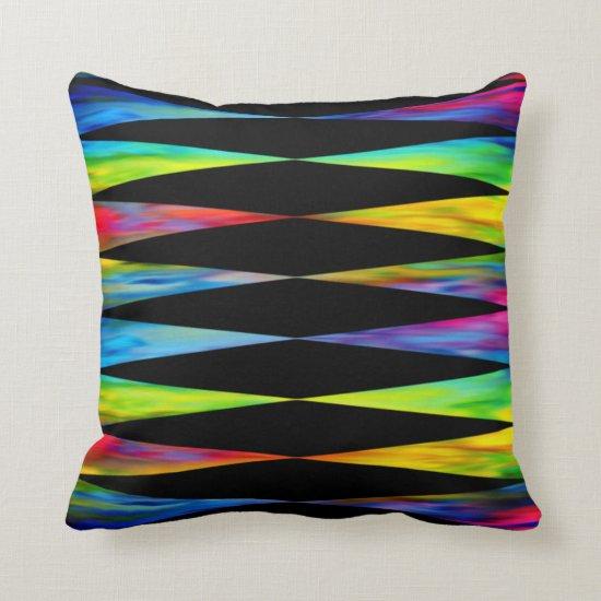 [Rainbow Fiesta] Harlequin Geometric Modern Black Throw Pillow