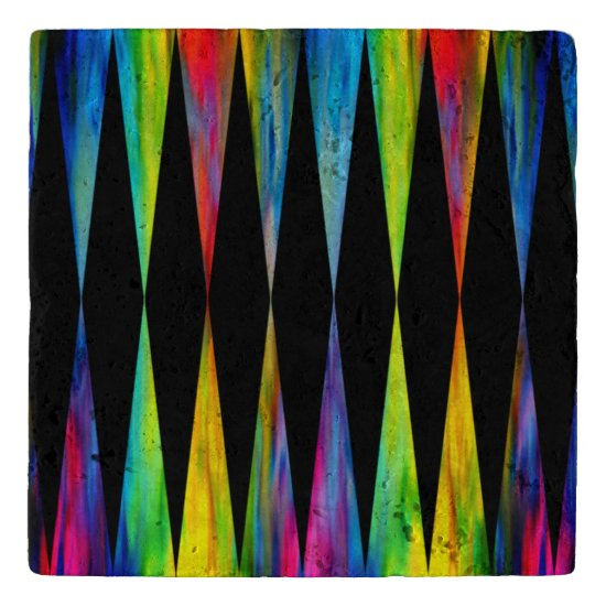 [Rainbow Fiesta] Harlequin Geometric Modern Black Trivet