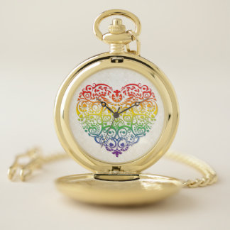 Rainbow Filigree Heart on Faux Gold Damask Pocket Watch