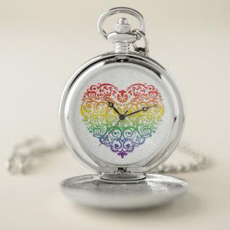 Rainbow Filigree Heart on Faux Silver Damask Pocket Watch