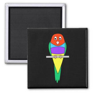 Rainbow Finch Bird. Gouldian Finch. 2 Inch Square Magnet