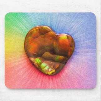 Rainbow Fire Agate with Heart Shape Mousepad