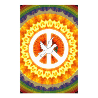 Rainbow Fire Peach Sign Dove 60s Hippie Stationery