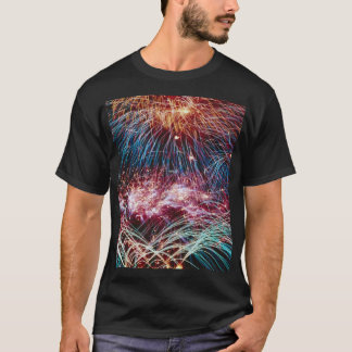 Rainbow fireball quills, on a t-shirt