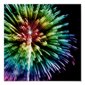 Rainbow fireworks print
