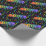 """[ Thumbnail: Rainbow First Name """"Matthew"""" + Stars Wrapping Paper ]"""