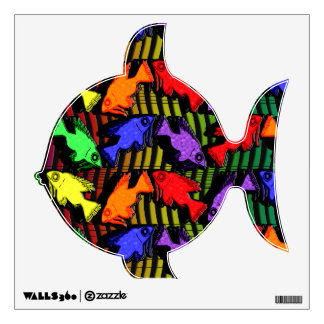 Rainbow Fish And Waves Wall Stickers
