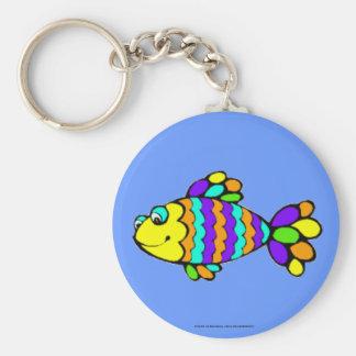 Rainbow Fish Basic Round Button Keychain