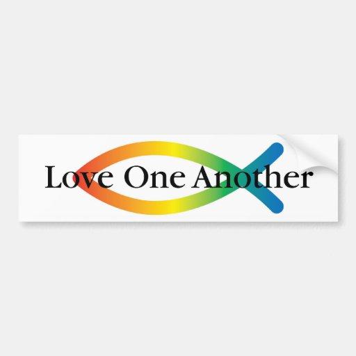 Rainbow Fish Love Bumper Sticker
