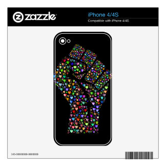 Rainbow Fist of Hearts Decals For iPhone 4