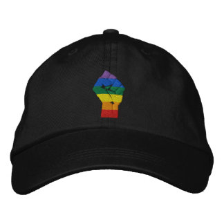 Rainbow Fist of Resistance - Embroidered Hat