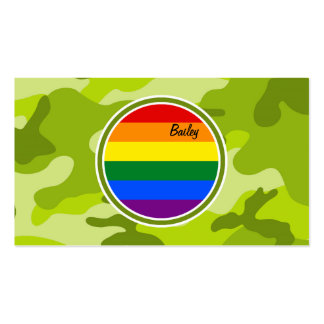 Rainbow Flag; bright green camo, camouflage Business Card Template